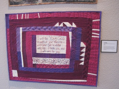 "FOR MOM. My mom has had beautiful snow white hair since she was about 35! When I told her about my Housetop Quilt Project, she shared her favorite verse with me. It is found in Isaiah 46:4. Machine quilted with hand embroidered flowers and words. 29""x22""."