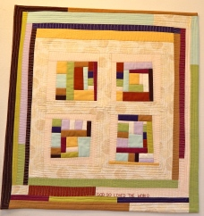 "Signature of Jesus #2. (square cross) 26 1/2X28"". Machine pieced and quilted $100"