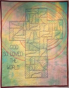 "Signature of Jesus #11 (whole cloth) 26X33"". Machine pieced and quilted, hand embroidery $250"