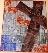 "Signature of Jesus #12. (garden cross) 32 1/2X37 1/2"". Machine pieced and quilted. Words hand-embroidered $250"