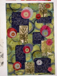 "Hope in Uncertain Times, 18 1/2X28"", Machine appliquéd and quilted. Extensive hand embroidery. $500 Description: This quilt, and especially these words, were a direct response to the horrific events that happened at the Sandy Hook elementary school, which was followed closely by the Boston Marathon bombings and the explosions in Texas. I have friends in all those areas. I am a blogger, and everywhere I read, I could see the uncertainty that was expressed in the face of such events. I found these verses in the Psalms, and they brought me great hope. Through this quilt I have been able to share that same hope with many people."